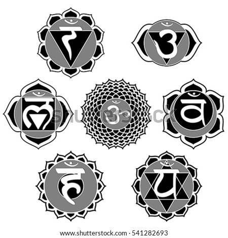 Vector Set 7 Black White Chakra Stock Vector Royalty Free