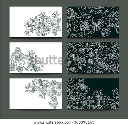 vector set of black and white floral cards with linear flowers