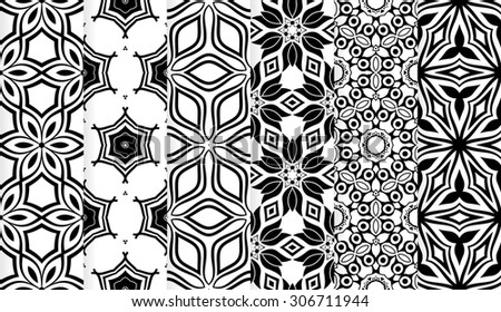 Vector set of  black and white geometric seamless patterns. Template for design decor, invitation, print, scrapbook, template, textile, texture, wrapping paper - stock vector