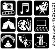 Vector set of black and white icons on the theme of Art - stock