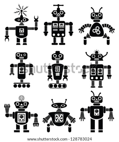vector set of black and white mechanical robots