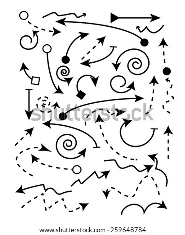 Vector set of black arrow - stock vector