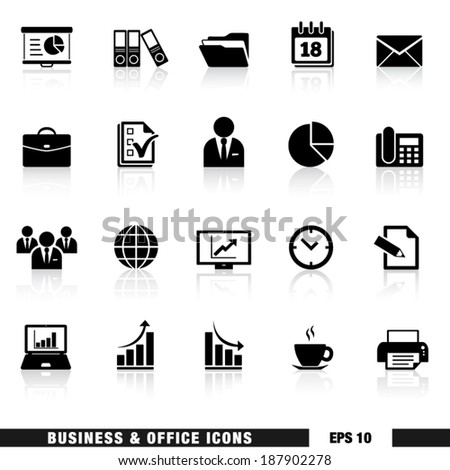 Vector set of black business and office web icons and design elements for web pages, marketing and business services and institution. EPS 10 illustration on white background with reflection effect. - stock vector