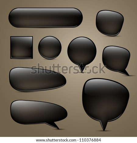 Vector set of black buttons and speech bubbles - stock vector