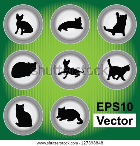 Vector : Set Of Black Cat on Gray Icons Isolated on White Background - stock vector