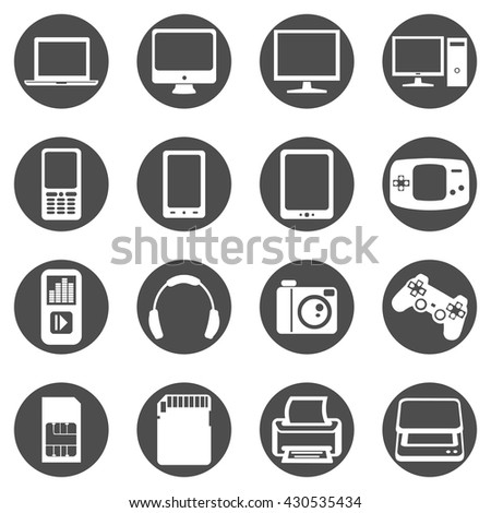 Vector Set of Black Circle Device Icons. Laptop, Computer, Display, Cell Phone, Smart Phone, Tablet PC, Player, Headphones, Camera, Joypad, Memory Card, Printer, Scanner.
