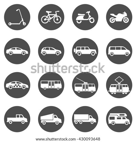 Vector Set of Black Circle Ground Transportation Icons - stock vector