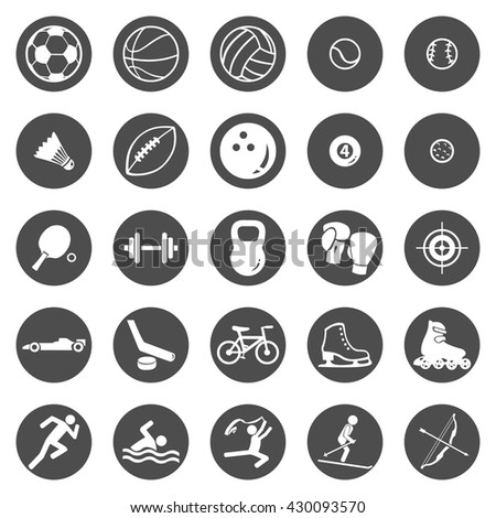 Vector Set of Black Circle Sport Icons - stock vector