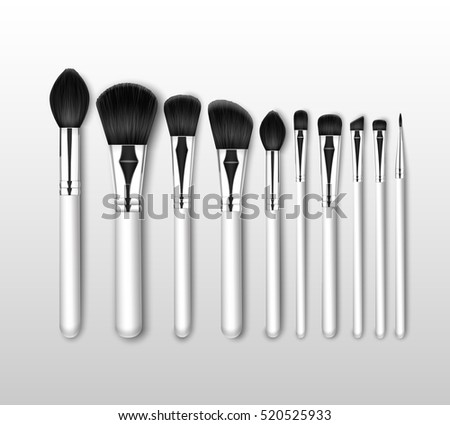 Vector Set of Black Clean Professional Makeup Concealer Powder Blush Eye Shadow Brow Brushes with White Handles Isolated on White Background