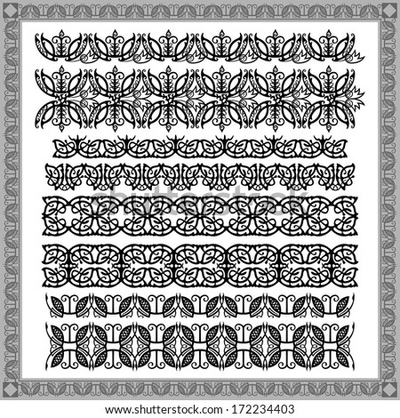 Vector set of black decorative horizontal floral elements, corners, borders, frame .Page decoration