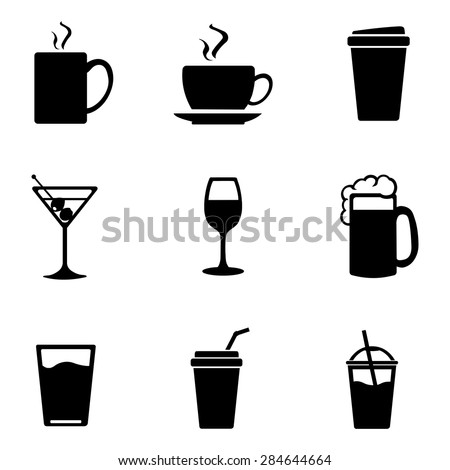 Vector Set of Black Drinks Icons. Tea, Coffee, Alcohol, Martini, Wine, Beer, Mineral Water, Fizzy Water, Smoothie, Cocktail. - stock vector