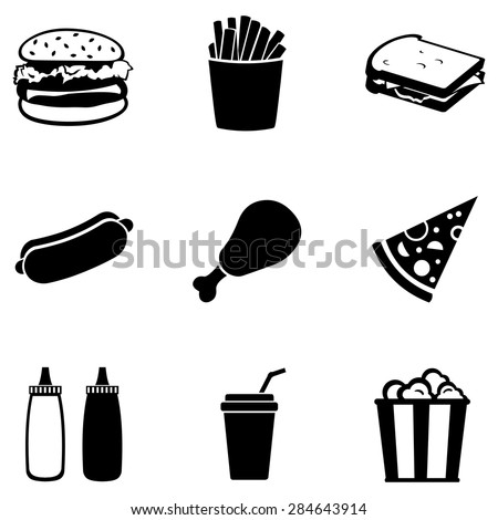 Vector Set of Black Fast Food Icons.  Fast Food. Junk Food. Hamburger, French Fries, Sandwich, Hot Dog, Chicken, Sauces, Beverage,  Popcorn. - stock vector