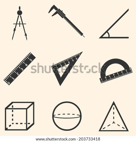 Vector Set of Black Geometry Icons. - stock vector