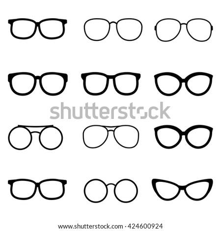 Vector set of black glasses on white background - stock vector