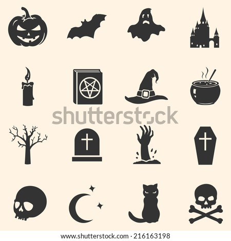 Vector Set of Black Halloween Icons - stock vector