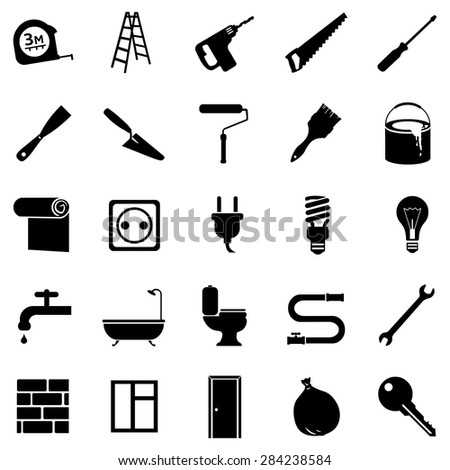 Vector Set of Black Home Repairing, Building, Construction and Decoration Icons - stock vector
