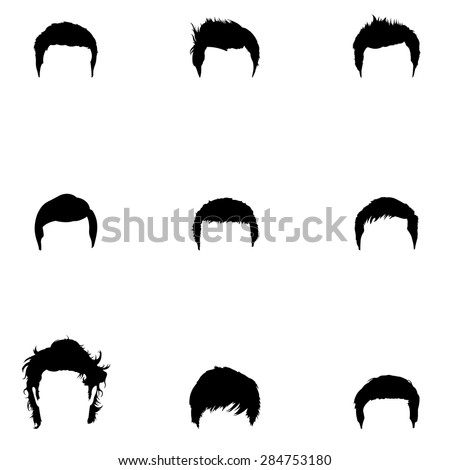 Vector Set of Black Male Hairdress. Type of Men Hairstyles. - stock vector