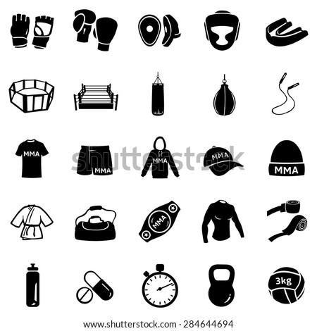 Vector Set of Black Mix Martial Arts Icons. MMA Icons.  Boxing, Kick Boxing, Thai Boxing, Wrestling, Grappling, Cross Fit. Fighting, Training and Competition. - stock vector