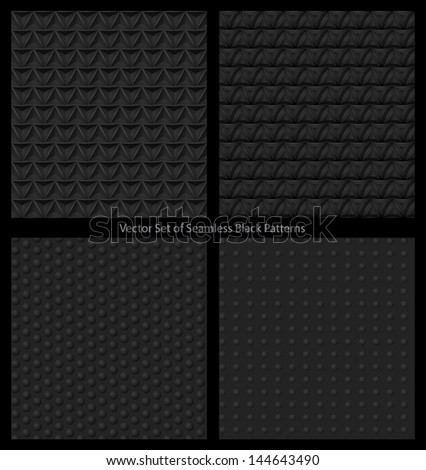 Vector set of black seamless patterns - stock vector