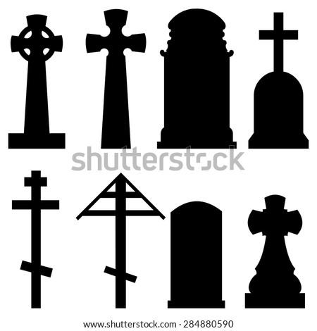 Vector Set of Black Silhouette Tombstones - stock vector