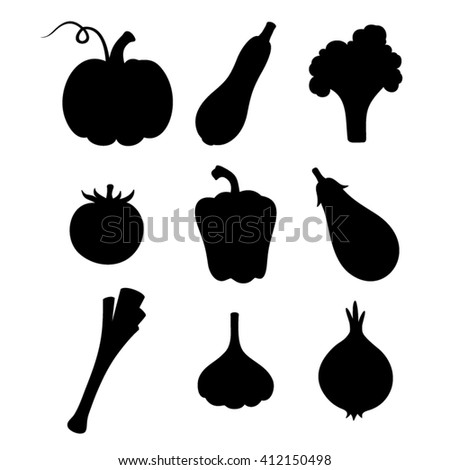 Vector set of black silhouettes of various vegetables isolated on a white background.