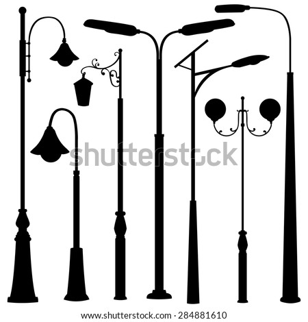 lighting set. Vector Set Of Black Street Lights Silhouettes Lighting G