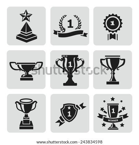 Vector set of black trophy and awards  icons - stock vector