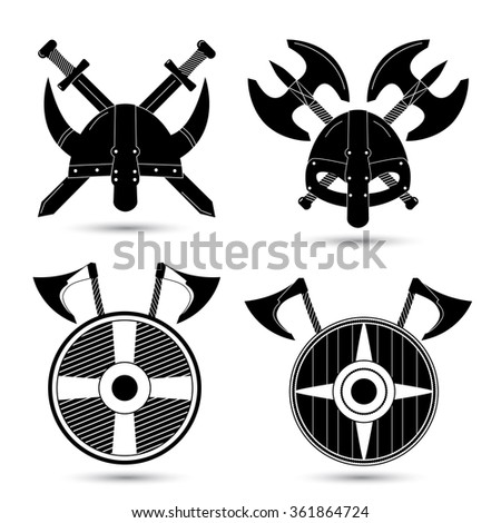 Vector set of black viking icons isolated on white background. Ancient helmet ax sword