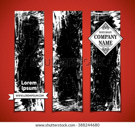 Vector set of blackboard vertical banners. Chalk hand-drawn grunge stains, flourishes and blots on blackboard banners. There is place for your text. - stock vector
