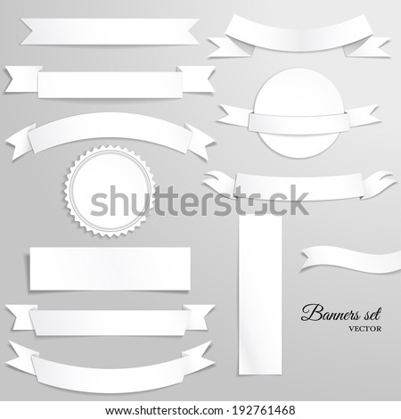 Vector set of blank banners and ribbons for design. Beautiful tape. Realistic shadows. - stock vector