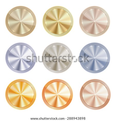 Vector set of blank centric circles with shiny discs of gold, red gold, silver, bronze, copper, aluminum, which can be used in web design as the medals, coins, buttons, signs, or knob - stock vector