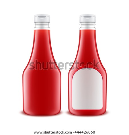 Vector Set of Blank Glass Plastic Red Tomato Ketchup Bottle for Branding with White label Isolated on White Background - stock vector