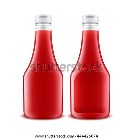 Vector Set of Blank Glass Plastic Red Tomato Ketchup Bottle for Branding without label Isolated on White Background - stock vector