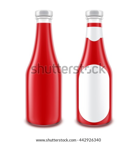 Vector Set of Blank Glass Red Tomato Ketchup Bottle for Branding without with Round Label Isolated on White Background - stock vector