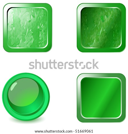 Vector set of blank green metal web buttons