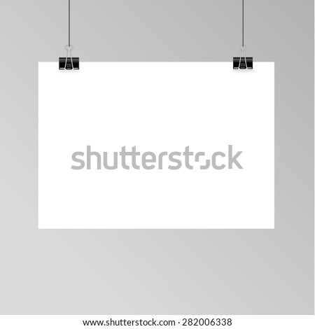 Vector set of blank paper sheet on a rope for mock up posters art typographic and presentations - stock vector