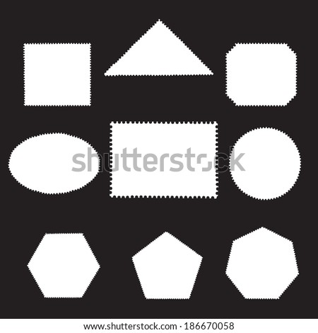 Vector set of blank postage stamps isolated on black  - stock vector