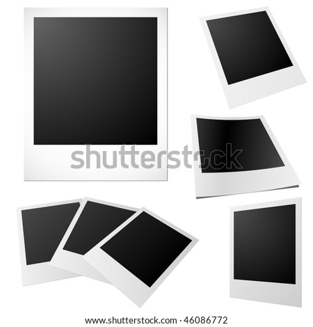 Vector set of blank printed photos isolated on white. - stock vector