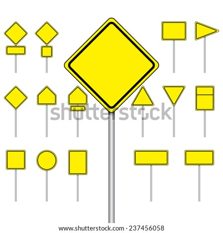 Vector set of blank road sign on isolated white background
