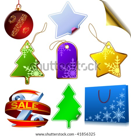 Vector set of blank winter sale elements isolated on white background. - stock vector