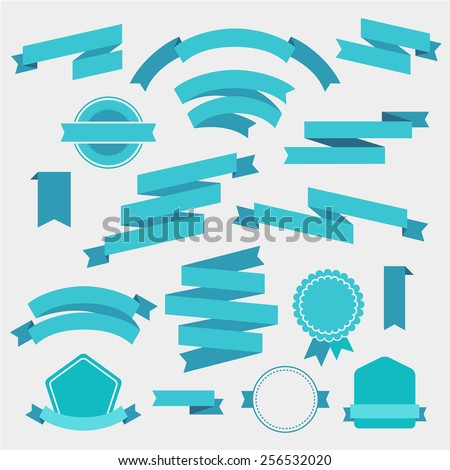 vector set of blue empty retro ribbons, banners and badges isolated - stock vector