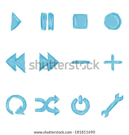 Vector Set of Blue Paint Audio Player Buttons - stock vector