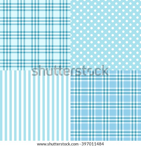 Vector set of 4 blue patterns (striped, plaid, spotted) . It;s a boy. Good for Baby Shower, Birthday, Scrapbook, Greeting Cards, Gift Wrap, surface textures. - stock vector