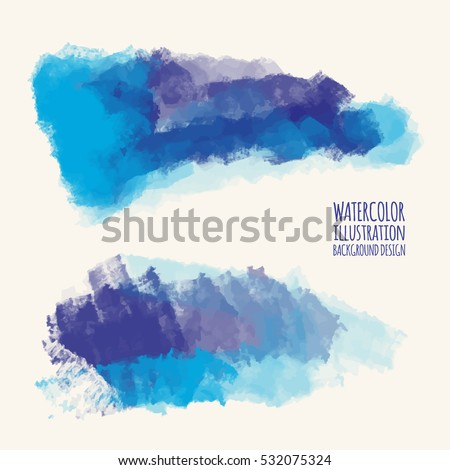 Vector set of blue watercolor brush strokes. Grunge isolated elements. Smoke brushes for your design. Freehand. Ink splash. Acrylic stamp. Vector illustration.