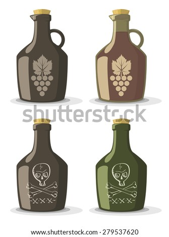 Vector set of bottles for wine or rum in vintage style  - stock vector