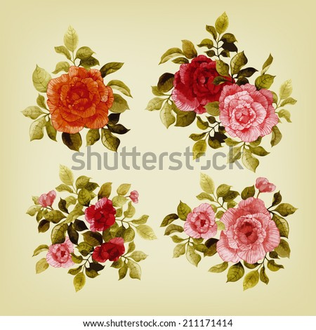 Vector set of bouquets of roses, watercolor, can be used as greeting card, invitation card for wedding, birthday and other holiday and  summer background - stock vector