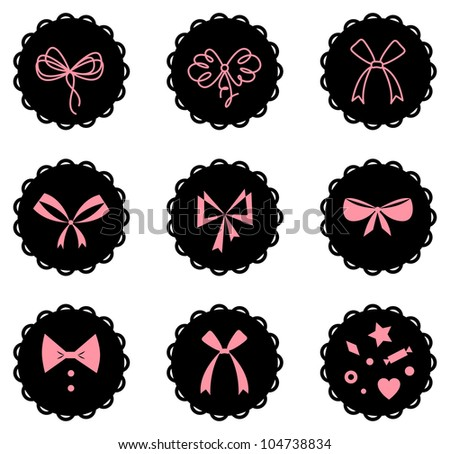 Vector set of bow icons - stock vector