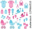 Vector Set of Boy and Girl Themed Baby Images - stock photo