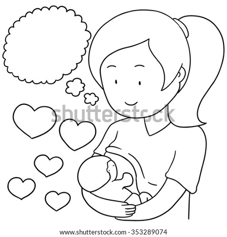 vector set of breast feeding mother and baby
