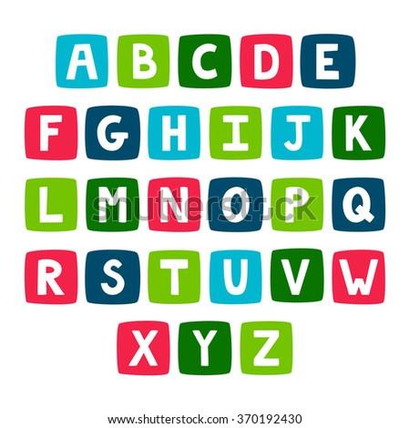 Vector set of bright alphabet. Stylish abc. Retro hand drawing font. - stock vector